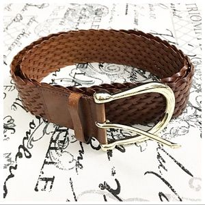 Michael Kors Genuine Bonded Leather Braided Belt L